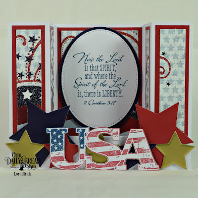 Our Daily Bread Designs Stamp Sets: Justice For All, USA, Paper Collection: Stars and Stripes, Custom Dies: Ovals, Pierced Ovals, Sparkling Stars