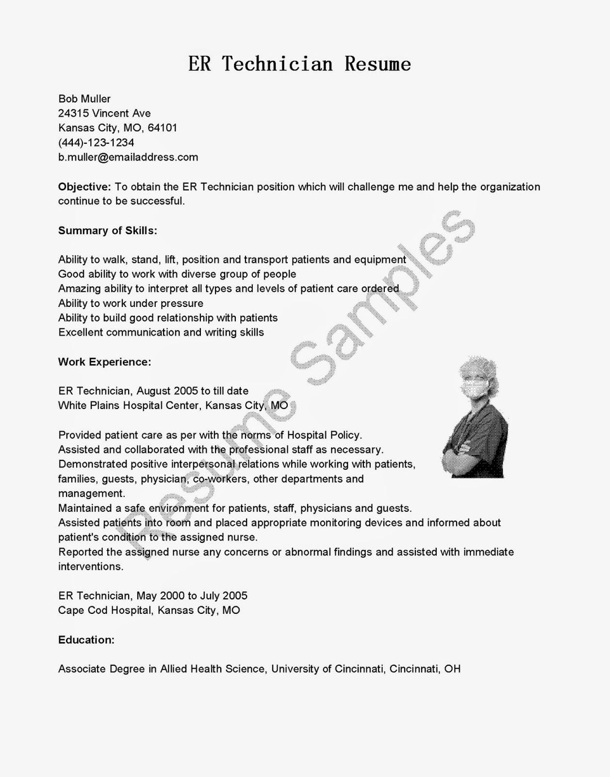 Resume Samples Er Technician Resume Sample