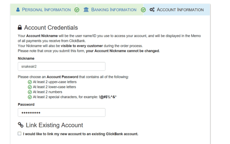 Clickbank Account signup