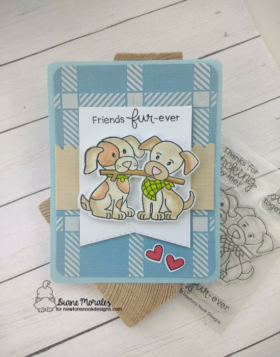 Friends fur-ever by Diane features Puppy Pals, Framework, Fancy Edges Tag, and Plaid by Newton's Nook Designs; #newtonsnook