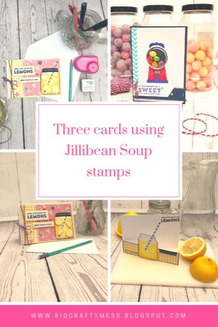 three card ideas using jillibean soup stamps -rachel gillham art