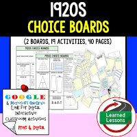 American History Digital Learning, American History Google, American History Choice Boards, 1920s