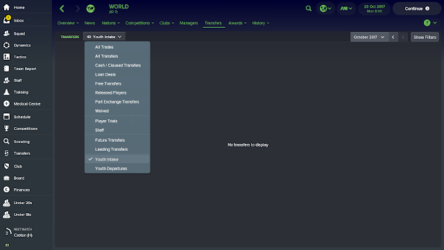 Youth Intake Date Football Manager