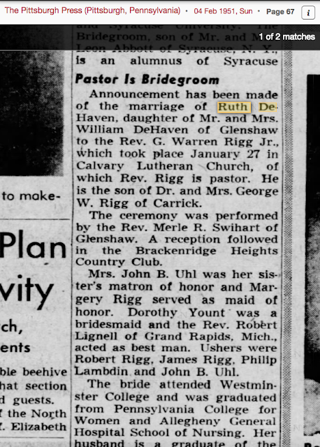 daughter of William DeHaven marries in 1951 Ruth DeHaven
