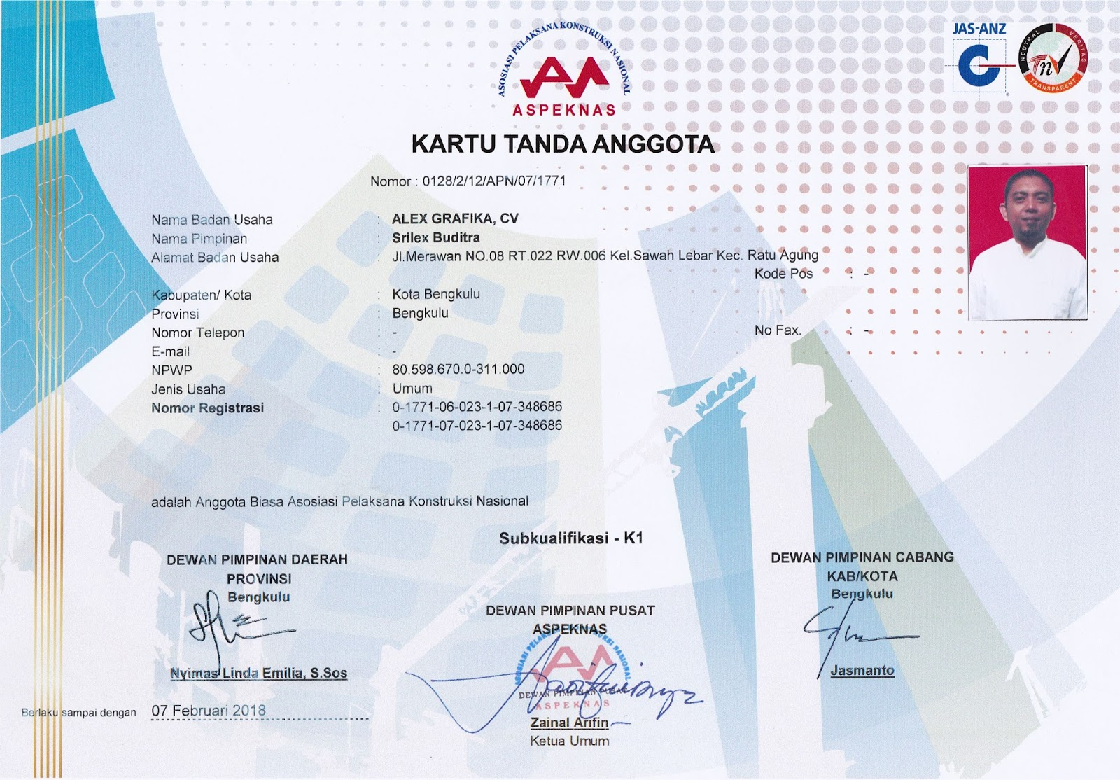 Kartu Tanda Anggota LPJK CV. ALEX GRAFIKA
