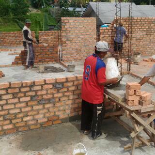 pemasangan bata , batu bata, dinding bata, bata merah
