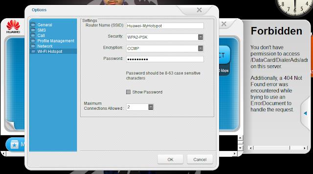 setting wifi modem huawei