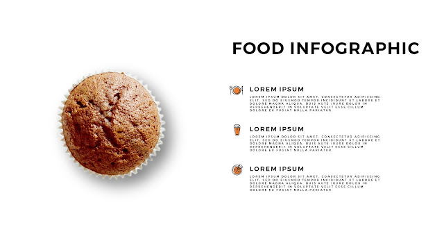 Food Infographic Pie Chart Elements for Powerpoint Template with white Background