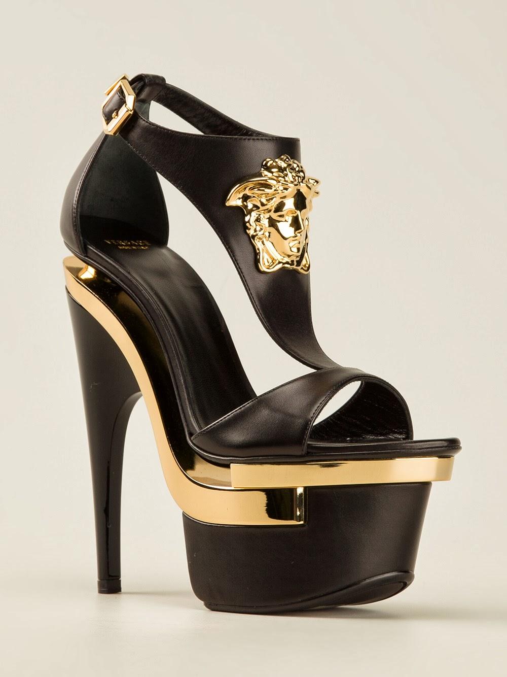 Designer High Black Platform Shoe With Gold Heel