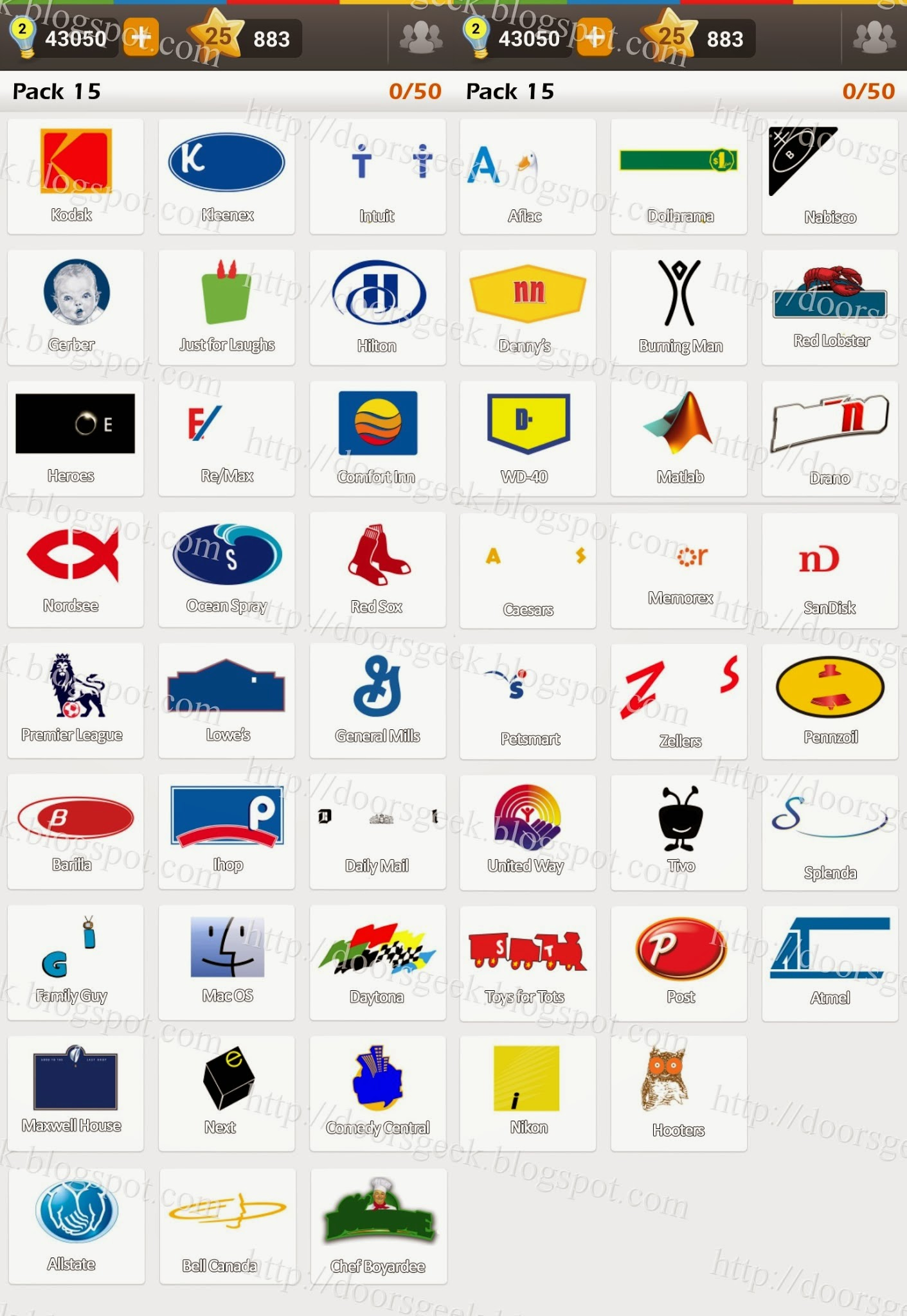 logo game guess the brand regular pack 15 doors geek