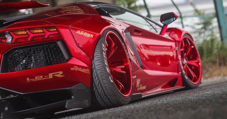 Liberty Walk Lamborghini Aventador Roadster Sees Red