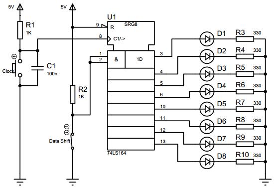 Rangkaian SIPO menggunakan IC74LS164