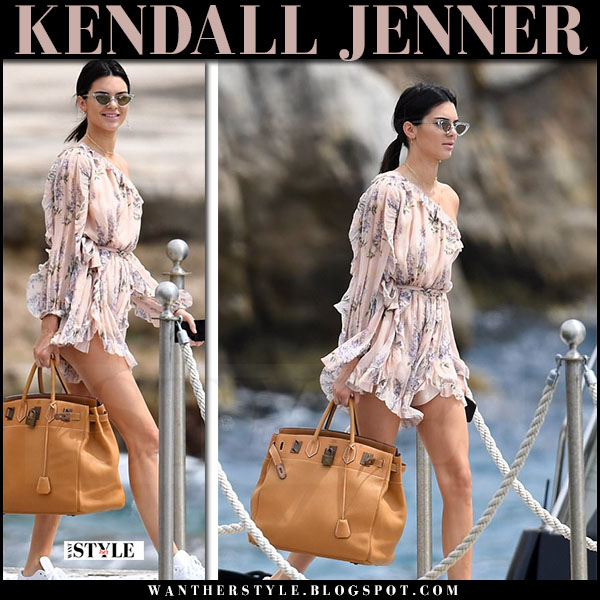 76d0cc9cb69 Kendall Jenner in floral print romper zimmermann and white sneakers what  she wore may 22 2017