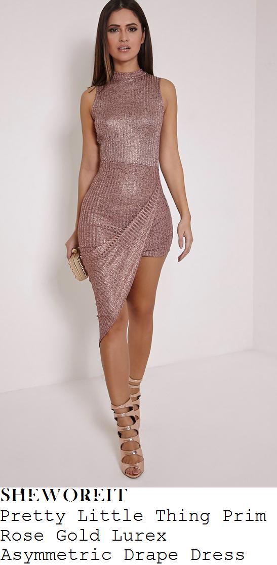 ferne-mccann-pretty-little-thing-prim-rose-rose-gold-lurex-sleeveless-asymmetric-drape-bodycon-mini-dress