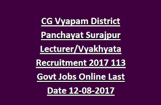CG Vyapam District Panchayat Surajpur Lecturer, Vyakhyata Recruitment 2017 113 Govt Jobs Online Last Date 12-08-2017
