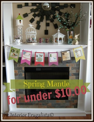 A spring mantle decorated for under $10.00
