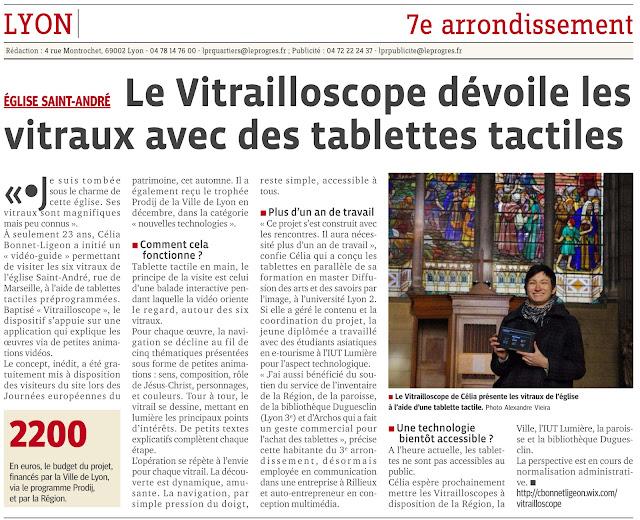 article du Progrès sur le Vitrailloscope