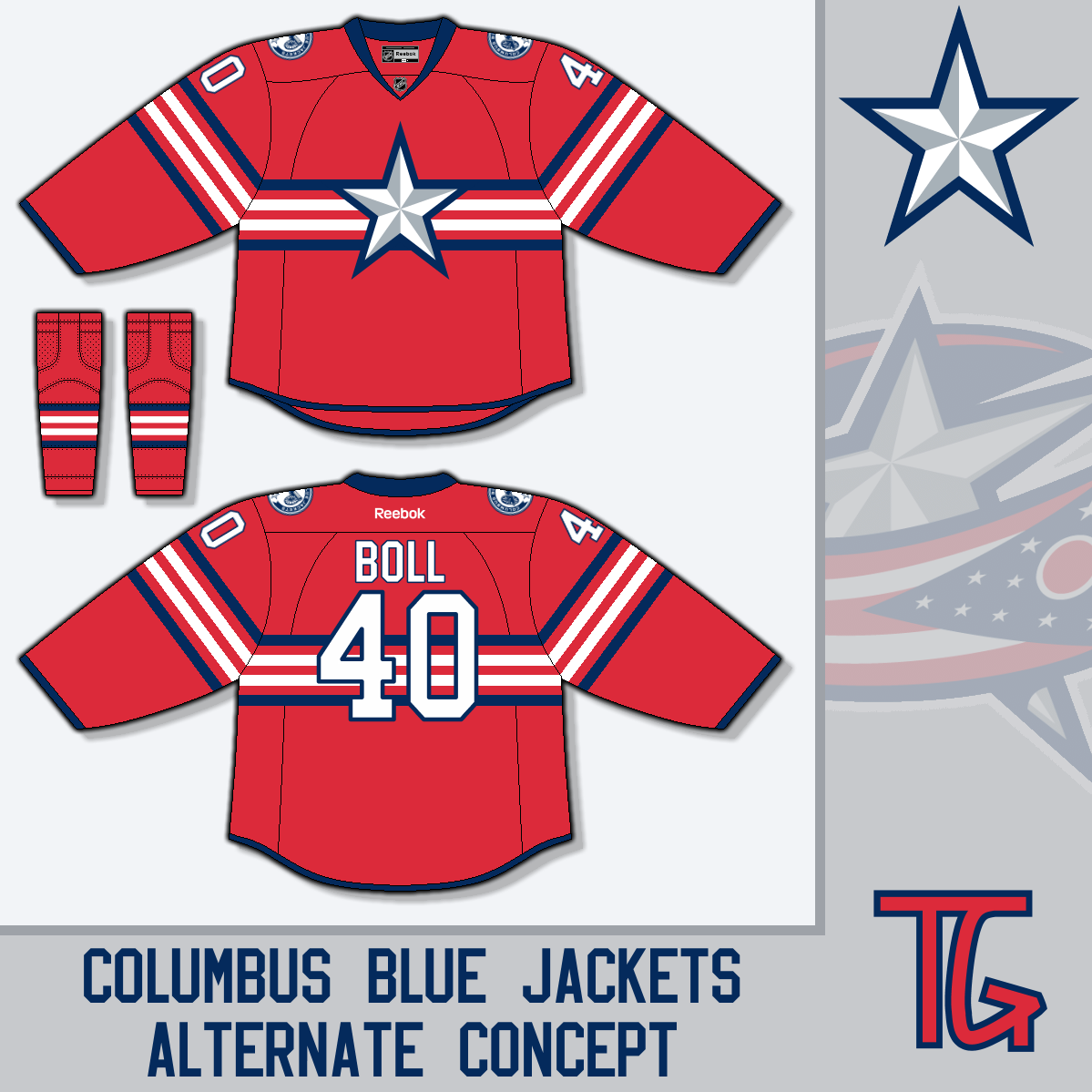 4ffaa11ec06 TG wants the Jackets in a red jersey with a huge star. I was going to say  that the only team who should have a primary star logo is Dallas but then  ...