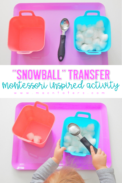 """Snowball"" Spoon Transfer Work A Montessori Inspired Activity for Winter"