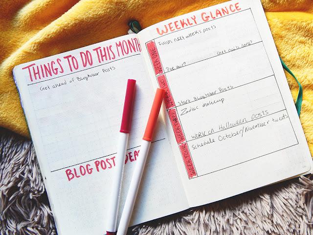 Bullet journal set-up September Habit tracker and blog planner