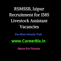 RSMSSB, Jaipur Recruitment for 1585 Livestock Assistant Vacancies