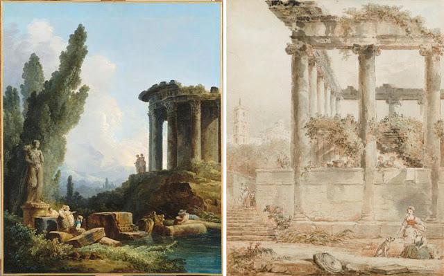 """Hubert Robert : """"Jeunes filles devant une statue de l'abondance"""" et """"Paysage avec le temple de Saturne"""""""