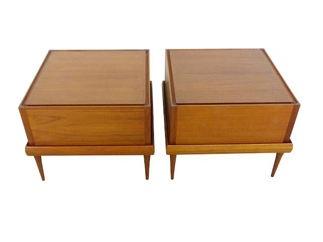 Danish Modern Teak Cube Side Tables Lid Bramine Denmark Img 2