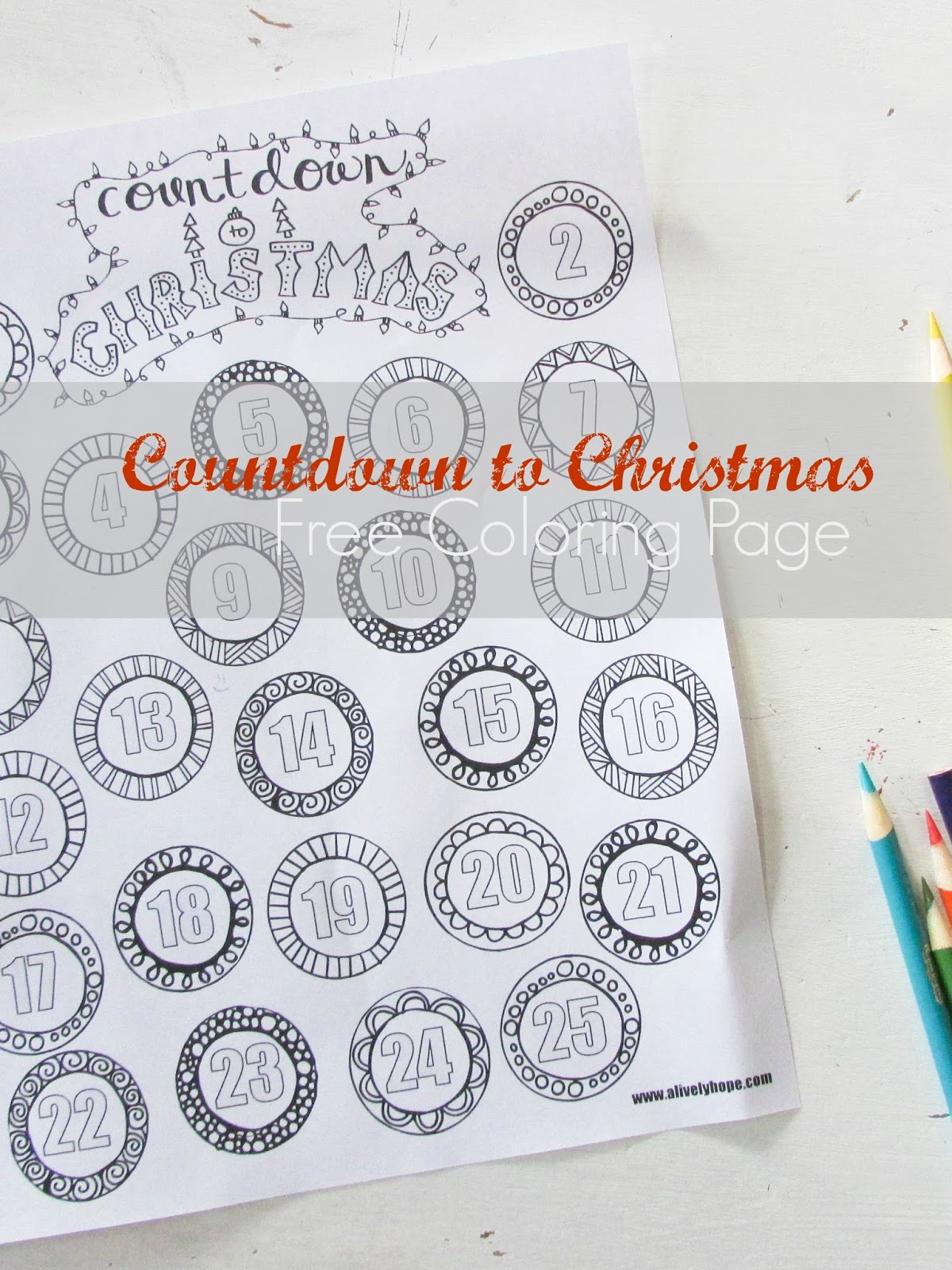 A Lively Hope: Countdown to Christmas Coloring Page