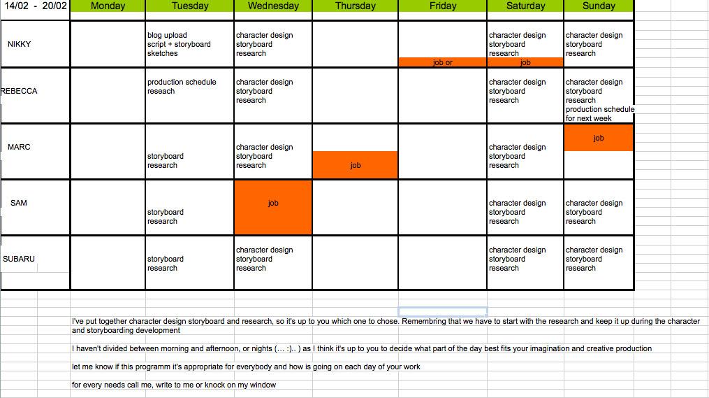 Yellow Balloon: 14 feb_ weekly production schedule
