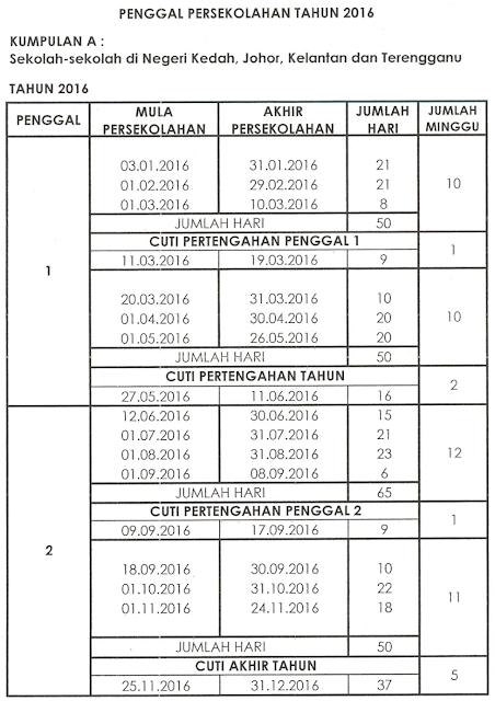 School Holidays Calendar 2016 Kalendar Cuti Sekolah
