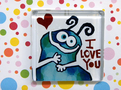 glass magnet with monster saying I Love You