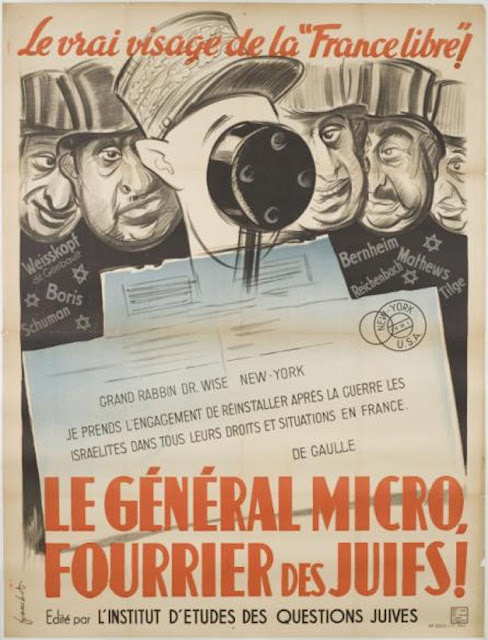 "Anti de Gaulle propaganda during the German occupation of France. ""The General-Micro"""