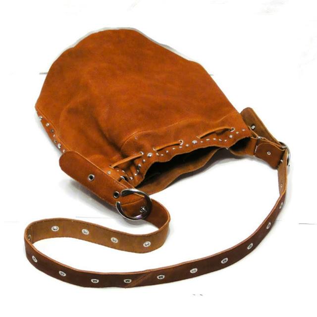 Женская сумка мешок кожа, хиппи сумка через плечо с заклепками