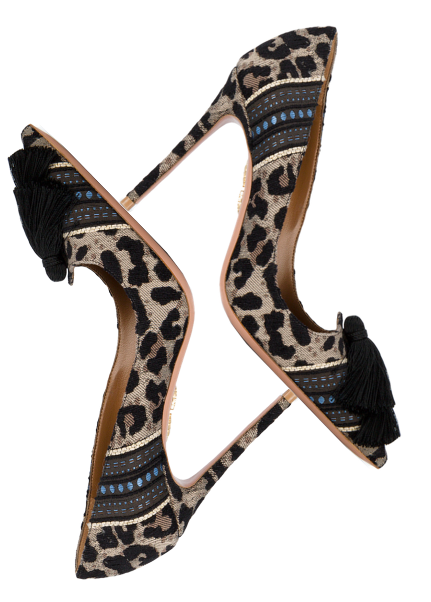 AQUAZZURA  Leopard Canvas Love Tassel 110 pumps