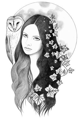 """Night Owl"" by Andrea Hrnjak | dibujos bonitos a lapiz | imagenes lindas | illustration art | mujer con luna"