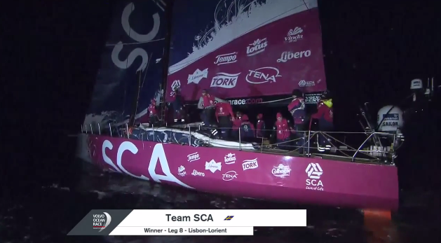 Photo of Team SCA just after crossing the Volvo Ocean Race Leg 8 finish line