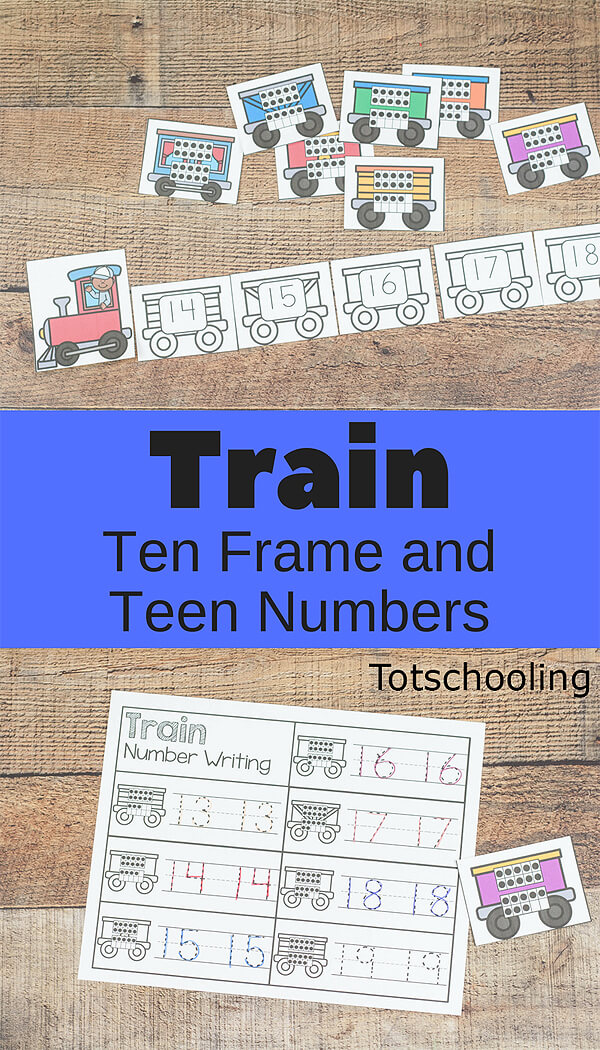 FREE printable Train theme games for kindergarten kids to practice teen numbers and ten frames. Perfect math center activity for train lovers!
