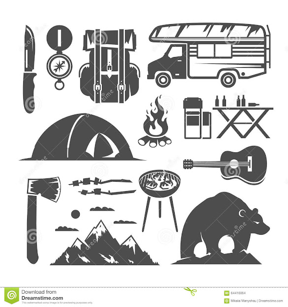 Camping Vector Black And White Icons