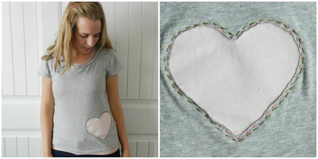 T-shirt Heart Applique
