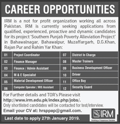 Manager, Assistant, Coordinator, Incharge, Office Boy, Jobs Vcancies In IRM 20 January 2019