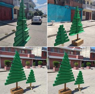 arbolitos de navidad con pallets de madera reciclados