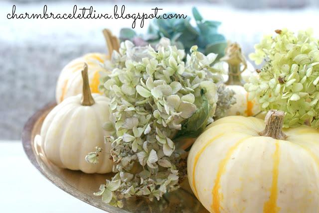 blue green white hydrangeas baby boo pumpkins