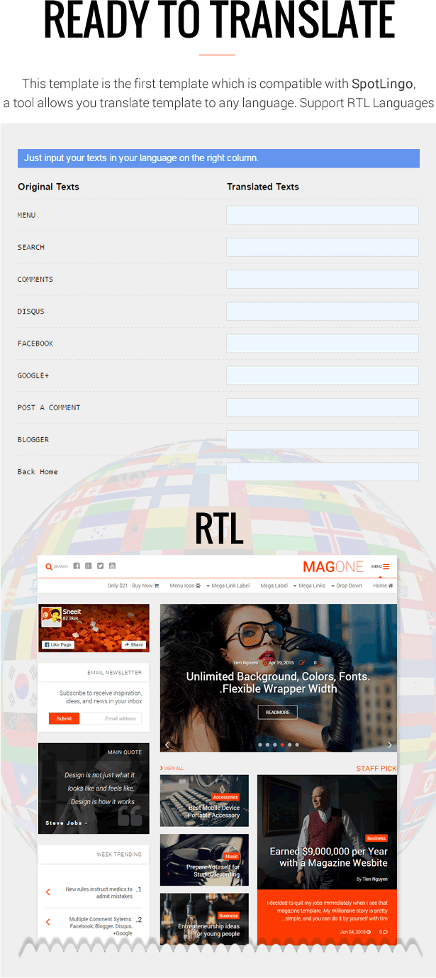 Ready To Translate - RTL Translation- MagOne - Magazine Blogger Template