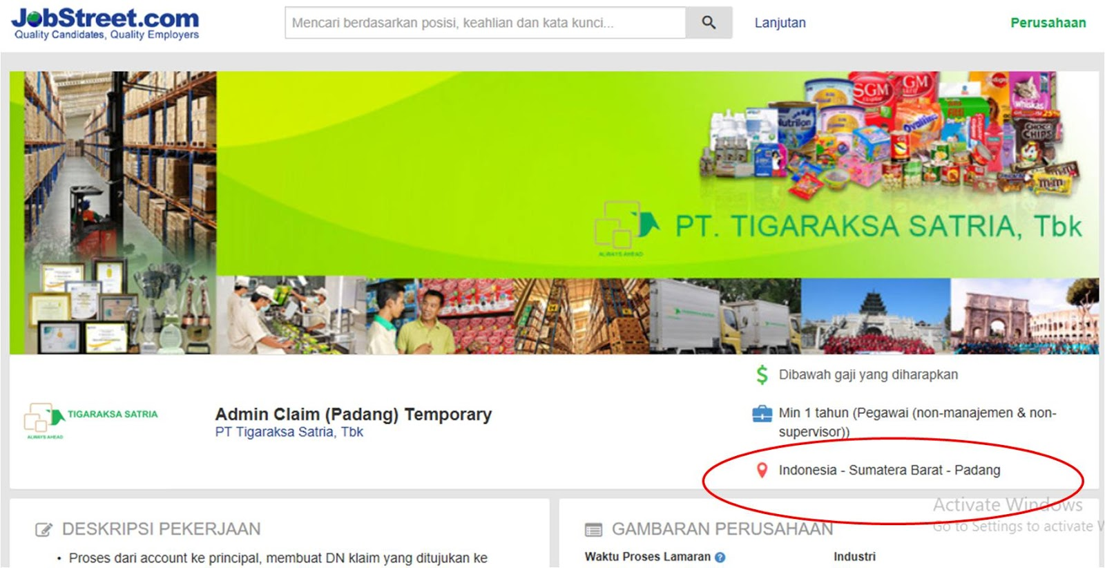 Lowongan Admin Padang Pt Tigaraksa Satria Tbk Lokernesia