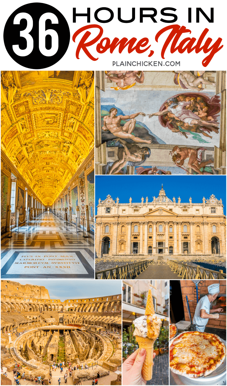 36 Hours in Rome Italy - what to see, where to eat and where to stay. The Colosseum, Vatican City, St Peter's Basilica, The Pantheon, Trevi Fountain, Spanish Steps, Piazza Navona, The Vatican Museum and Sistine Chapel. PLUS where to find the best pizza in Rome and the most luxurious hotel in the city!! #Italy #Rome #travel #europe