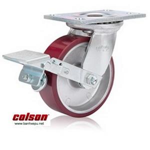 Bánh xe công nghiệp PU Colson có khóa chịu lực 540kg | 6-6209-939BRK1 www.banhxepu.net