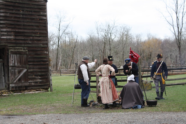 Soldier and village interpreters at Allaire Village