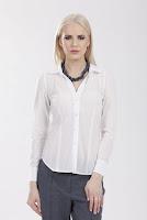 Camasa alba din bumbac cu model dungi subtiri 3013 (Ama Fashion)
