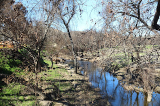 Medea Creek at Western Town Paramount Ranch after burning in Woolsey Fire.