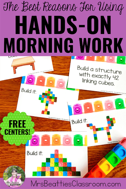 "Picture of math morning work task cards with linking cubes and text that says, ""The Best Reasons For Using Hands-On Morning Work. Free Centers!"""